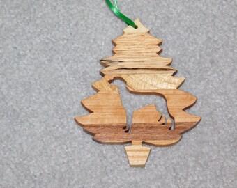 Wood Christmas Tree Dog Ornament -  Greyhound