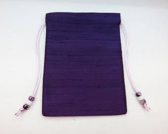 "Pure Dark Purple Silk Handmade Tarot Card Bag, Tarot Card Pouch 5x7, 5"" x 7"""