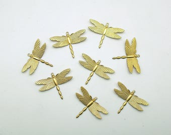 Vintage Dragonfly Charms Brass Stamping Metal Jewelry Pendants