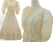 RESERVED Antique Victorian 1890s dress 2 piece blouse and skirt cream w rosebud print
