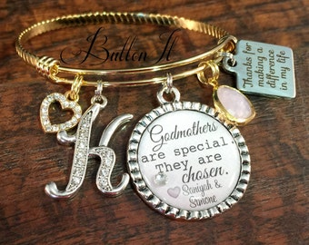 GODMOTHER gift, GOLD Bangle, Godmother bracelet, Personalized jewelry, Baptism gift, Aunt gift, Christmas gift, INITIAL jewelry, Cross