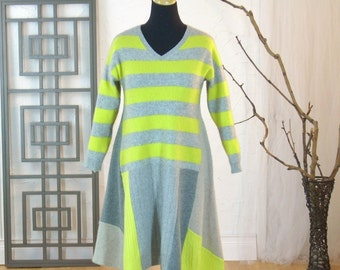 Cashmere Sweater Dress/Altered Clothing/Reconstructed Womens Dress/Boho Tunic/ Size M-L/Brendaabdullah