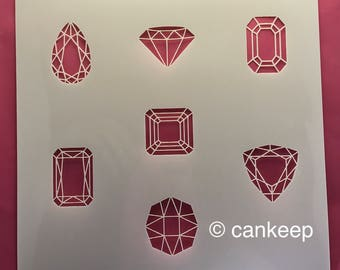 """Cookie Stencil - Gems and Jewels   6""""x6"""" Laser Cut- Cankeep"""