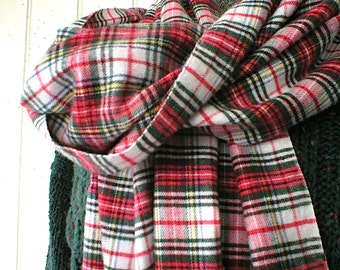 "FREE SHIPPING Scotch plaid flannel twill scarf, selvedge long scarf 72""- Stewart tartan - eco vintage fabric"