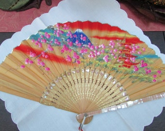 VINTAGE - Japanese Fan - Handprinted - Handcarved