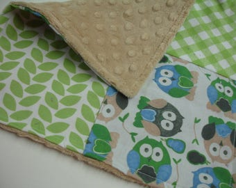 Short Legged Owls in Basil Four Square Baby Minky Burp Cloth 12 x 12 READY TO SHIP