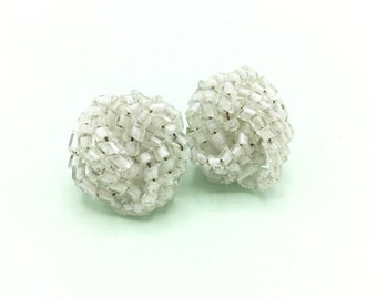 Vintage White Seed Bead Earrings, Clustered Beads, Clip-on Earrings