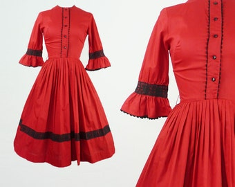 Vintage Red Dress 1950s Fit And Flare Ruffle Sleeve Dyanne Of Dallas 50s Cotton Black Lace Trim Day Dress