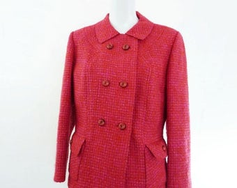 Vintage 1960s Jacket | PECK and PECK Hot Pink Tailored Tweed Career Girl 60s