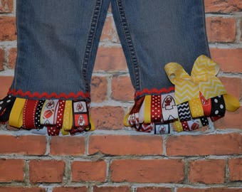 KANSaS CITY CHIEFS KC ribbon fringe denim skirt / shorts / capris / jeans sizes 0-3- 6- 9 - 12 -18 -24 mth 2 -3 -4 -5-6-7-8