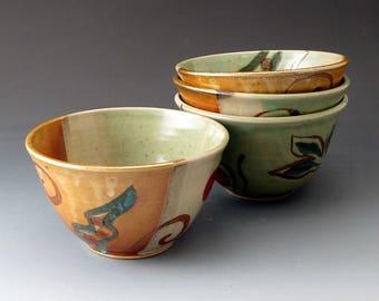 Small Ceramic Bowl, Celadon and Shino, Clay Bowl, Rice Bowl, Soup Bowl, Dessert Bowl
