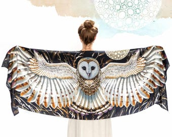 Barn Owl Wings Scarf Wrap, Black Silk Scarf, Wearable Art, Owl Shawl Wrap, Birds Scarf, Feather Print Scarf, Nature Scarf