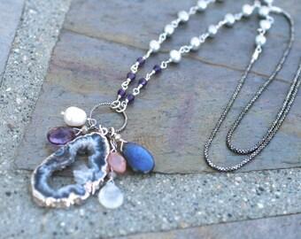 Labradorite, Amethyst, Druzy Quartz, Moonstone, Freshwater Pearl, Chalcedony Sterling Silver Necklace, Bohemian, Multi Gemstone Necklace