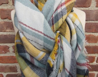 plaid blanket scarf gray neck wrap fringed check shawl oversized square cozy casual scarf soft boho chic checkered accessory gift bohemian