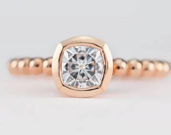 Rose Gold Cushion Cut Engagement Ring | Low Profile Cushion Cut Solitaire | 5mm Forever One Moissanite Ring | 14k 18k recycled gold