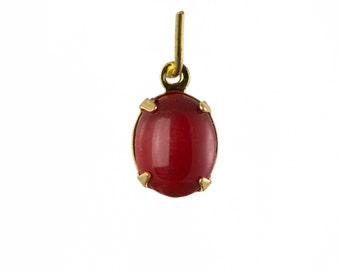 Vintage Opaque Red Oval Stones in 1 Loop Gold Setting 10x8mm (4) ovl018F