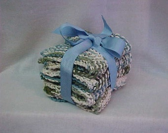 4 HANDKNIT WASH CLOTHS~~Blues, Greens and White Colored Yarn~~For Your Home~~Kitchen or Bathroom~~in Lovely Coordinating Colors