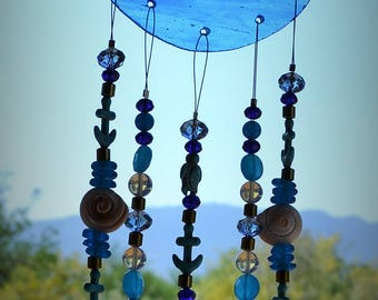 Sale Mermaid Windchime Blue Stained Glass