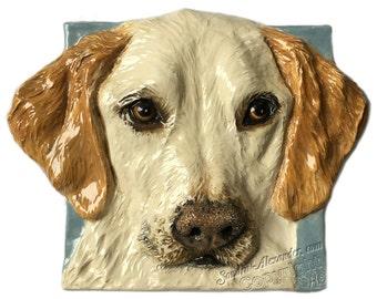 Yellow Labrador Retriever Ceramic Portrait Sculpture 3D Dog Art Tile by Sondra Alexander ready to ship