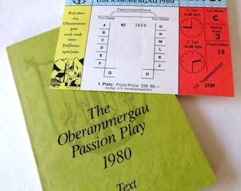 Vintage Play - Vintage Book - Oberammergau Passion Play 1980 - Ticket Ephemera - Play Text - Collectible - Souvenir