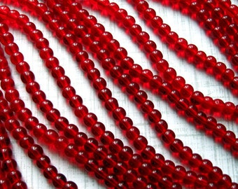 4mm Red Glass Beads - Set of 160 - Round - Deep Ruby Red Glass Beads (CBD0190)