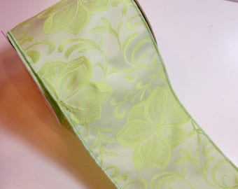 Green Ribbon, Design Studio Nadine Wired Fabric Ribbon 4 inches wide x 10 yards, Full Bolt of Green Flower Ribbon