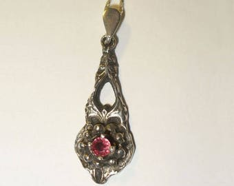 Victorian Style Handmade Fine Silver Pendant with Genuine Ruby - Genuine Gemstone in Solid Silver, Sterling Chain