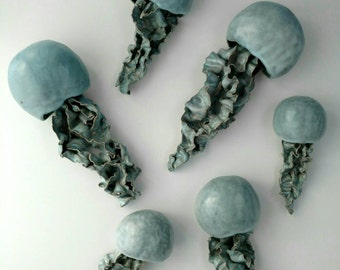 SWARM Wall sculpture. Blue jellyfish Floating installation. Large wall art set. Indoor, outdoor pool, bathroom wall decoration. Ceramic fish
