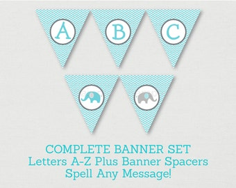 Cute Elephant Baby Shower Banner / Elephant Baby Shower / Blue & Grey / Chevron Pattern / Letters A-Z / DIY Pennant Banner INSTANT DOWNLOAD