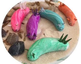Custom Nudibranch sea slug marine gastropoda mollusca mini marble friend in your choice of color swirl up to three colors