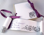 Will you be my bridesmaid wedding invitation, boxed mini scroll, custom printed scroll, antique damask scroll, silver and plum