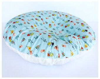 NEWBORN LOUNGER Boppy slipcover/ Kodiak on aqua minky print with ivory flat minky /Great  baby shower  gift/Boppy slipcover / Gender neutral