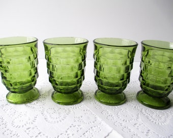 Vintage Colony Whitehall Juice Glasses Footed Avocado Green Juice Set of Four