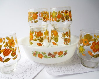 Vintage Fire King Baking Dish Matching Glasses Set of Six Orange Green Floral Retro - 70s Kitchen