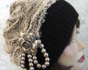 Womens BOHO Style Hat Faux Fur With Wide Black Knit Band And Funky Metal Bead And Flower Trim Chemo Hair Loss Hat Teen Hat Head Sz 21- 23