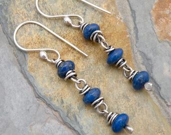 Lapis Lazuli Earrings, Sterling Silver, Lapis Lazuli Dangle Earrings, Lapis Boho Earrings, Lapis Drop Earrings, Cobalt Blue Gemstones, #4711