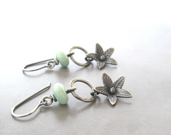 silver drop earrings, oxidized silver earrings, botanical earrings, amazonite and silver earrings, metalwork earrings
