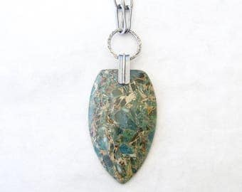 rustic stone necklace, silver and stone pendant necklace, boho statement necklace