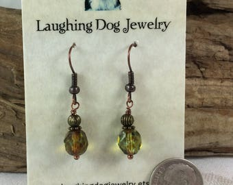 Olive Picasdo Glass and Antiqued Copper Earrings