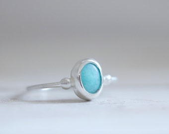 Amazonite ring. Sterling silver ring with Amazonite. Blue Amazonite, natural Amazonite, Amazonite band, blue gemstone, stacking ring.