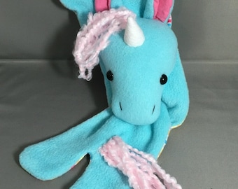 Unicorn Animal Scarf, Robin Egg Blue with Pink Hair, Short or X-Long Unicorn Stuffed Animal for kids and adults MADE TO ORDER