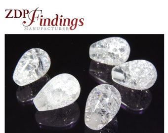 6pcs x Pear Shape 10x7mm mm Drop Bead Ice Clear Crystal Quartz Gemstones (ICPR107)