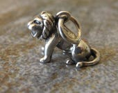 Sterling silver LION charm. 3 D charm. 13 x 13mm. Solid Sterling silver charm pendant. Lion pendant, Leo sign