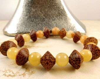 Golden Calcite and Coconut Shell Stretch Bracelet