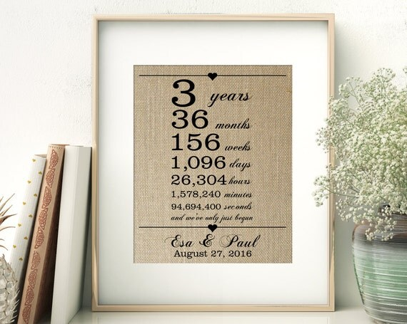 3 Yr Wedding Gift : Wedding Anniversary Gift for Wife Husband 3 Years Together Years ...