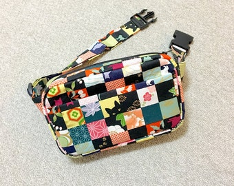 Body Bag / Waist Pouch / Hip Bag / Fanny Pack --- Kimono Cat - Red