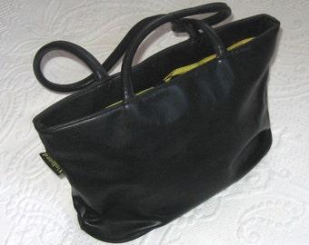 black leather bag . large black bag . large purse . black shoulder bag . unlisted . unlisted leather bag