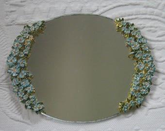 forgetmenot tray . enamel forgetmenot tray . vanity tray . mirror tray . forgetmenot mirror tray . rhinestone vanity tray