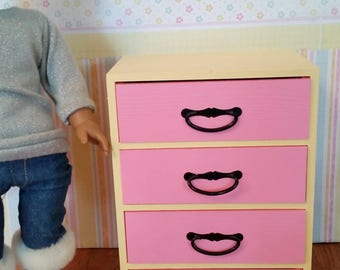 "18 inch doll dresser, drawers, clothes storage, 18"" doll furniture for doll house"