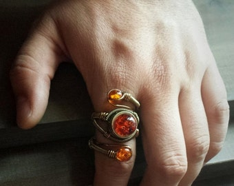SALE 25% OFF - Steampunk Ring - Adjustable Size 9 to 13 US - Brass Copper with Mysterious Amber - Prototype